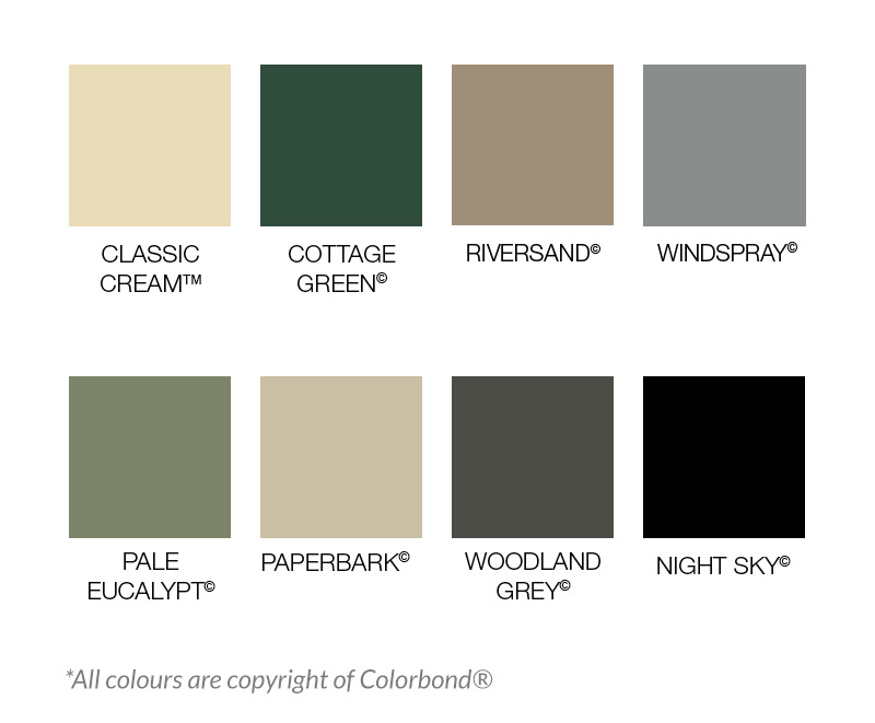 colorbond steel fencing colours