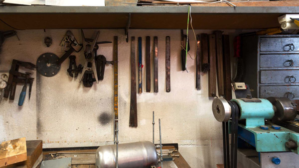 Tools in a backyard shed