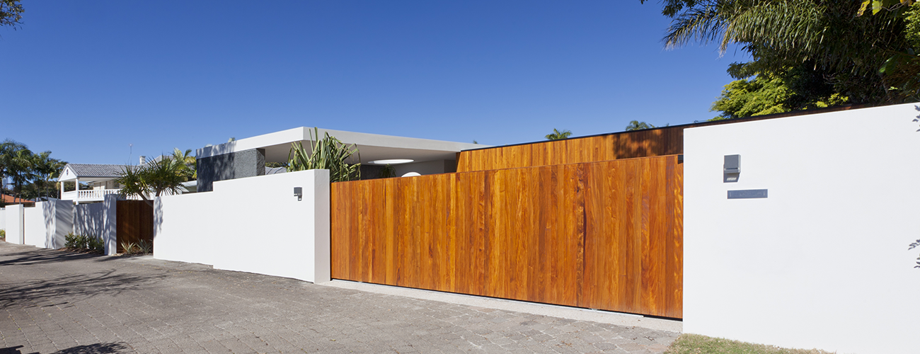 Wooden Timber Fence Section on Gold Coast Home