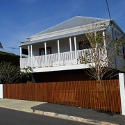 Timber Slat Screen Fencing on a Brisbane Suburban Street
