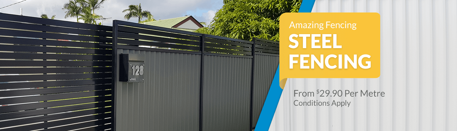 Permasteel Fencing with Aluminium slat gate and privacy extension
